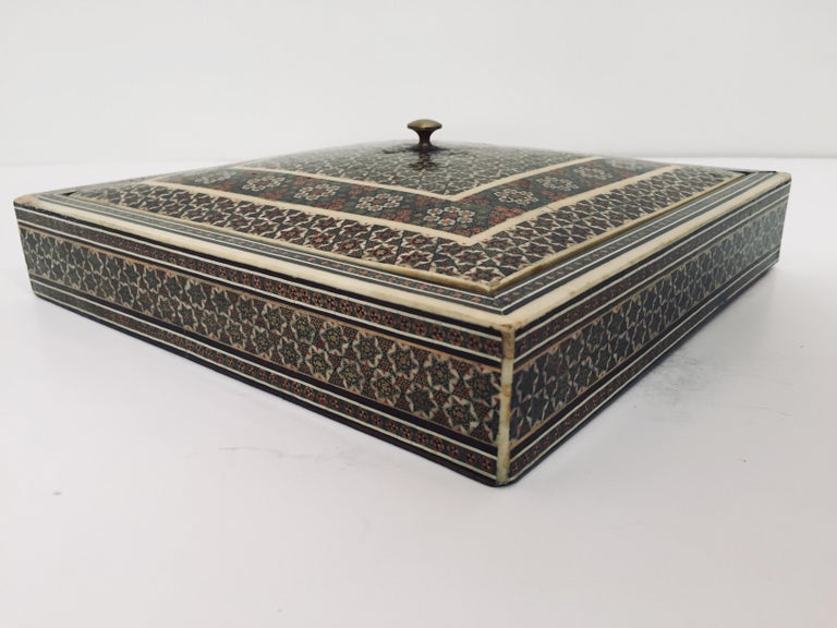 Persian Micro Mosaic Inlaid Jewelry Box For Sale 3