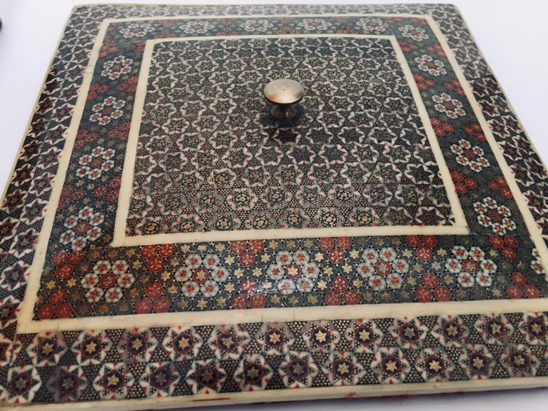 Wood Persian Micro Mosaic Inlaid Jewelry Box For Sale