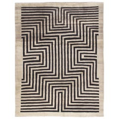 Persian Modern Shiraz Hand Knotted Rug in Black and Ivory Pattern