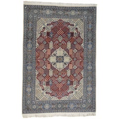 Persian Nain 250 Kpsi Wool and Silk Hand Knotted Oriental Rug
