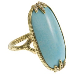 Gabrielle Sanchez Persian Oblong Turquoise 18 Karat Claw Ring