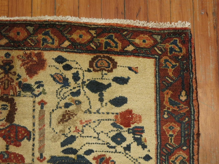Hand-Woven Persian Pictorial Rug with Hebrew Inscription For Sale