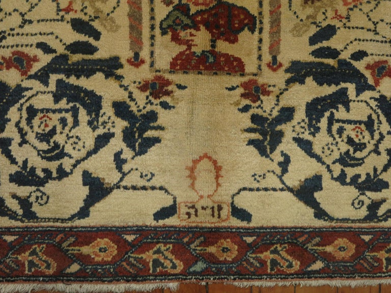 Persian Pictorial Rug with Hebrew Inscription In Good Condition For Sale In New York, NY