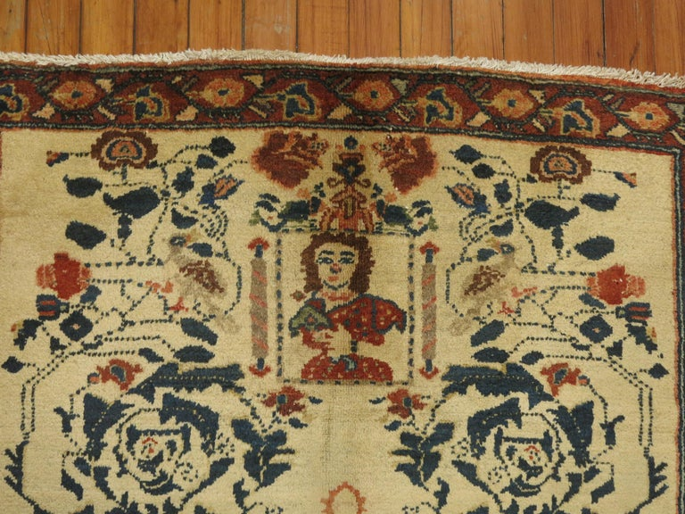 20th Century Persian Pictorial Rug with Hebrew Inscription For Sale