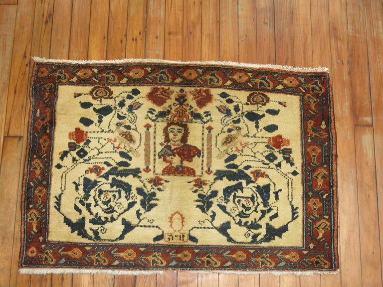 Wool Persian Pictorial Rug with Hebrew Inscription For Sale