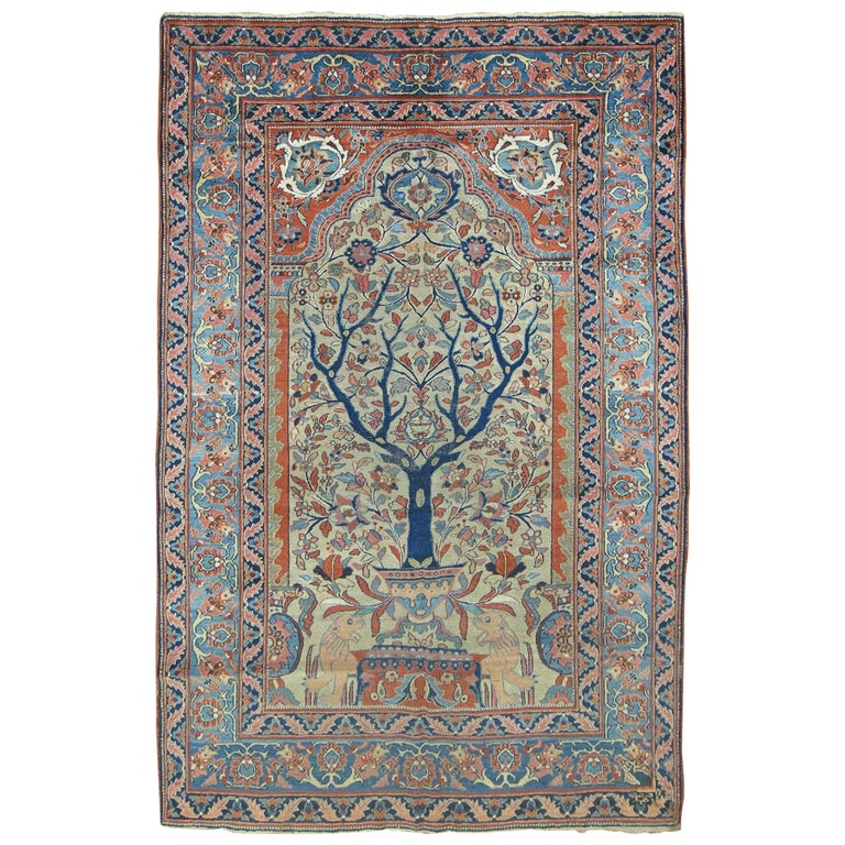 Persian Rugs For Sale: Persian Pictorial Tabriz Prayer Rug For Sale At 1stdibs