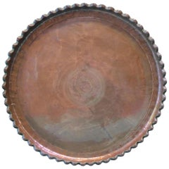 Persian Qajar Copper Serving Tray Sharing Platter Dish