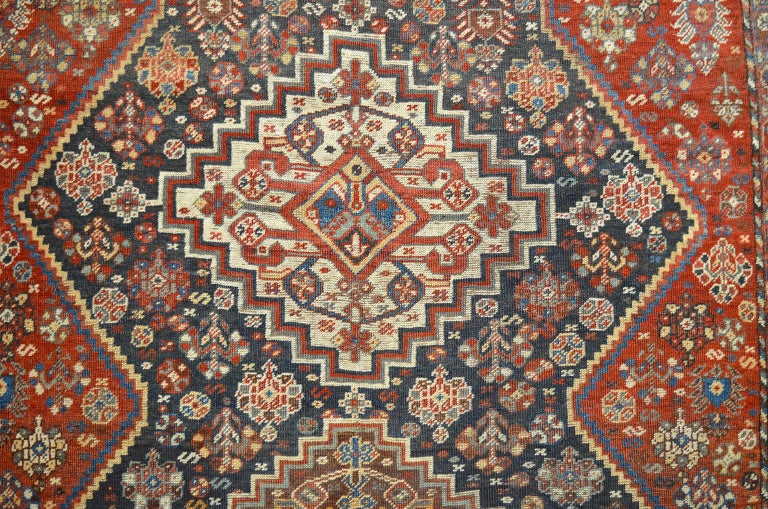 Vegetable Dyed Persian Qashqai Carpet, circa 1880 in Pure Handspun Wool and Vegetable Dyes For Sale