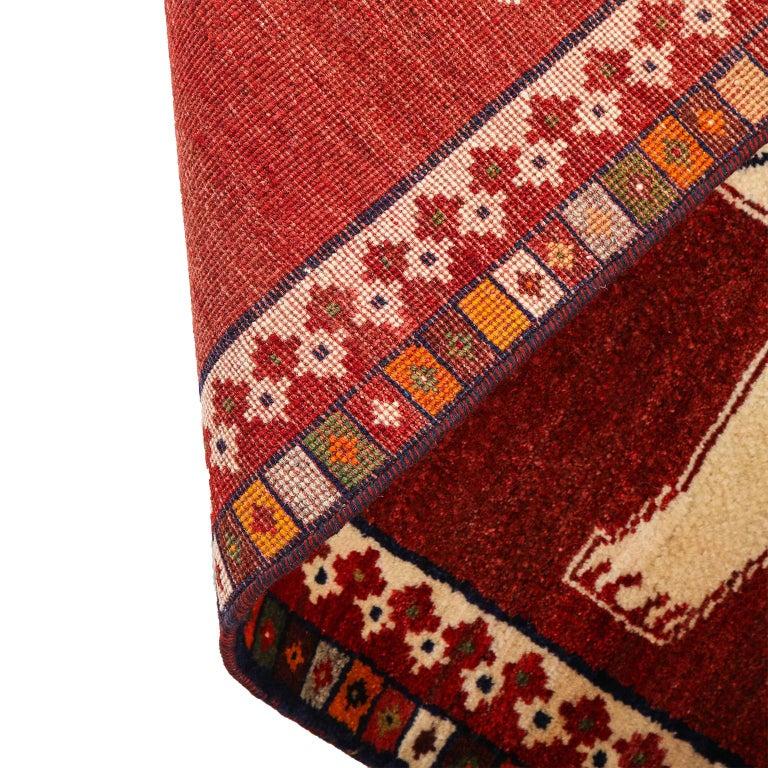 Persian Qashqai Kashkooli Lion Animal Carpet circa 1940 in Handspun Wool For Sale 5