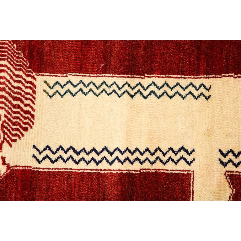 Mid-20th Century Persian Qashqai Kashkooli Lion Animal Carpet circa 1940 in Handspun Wool For Sale