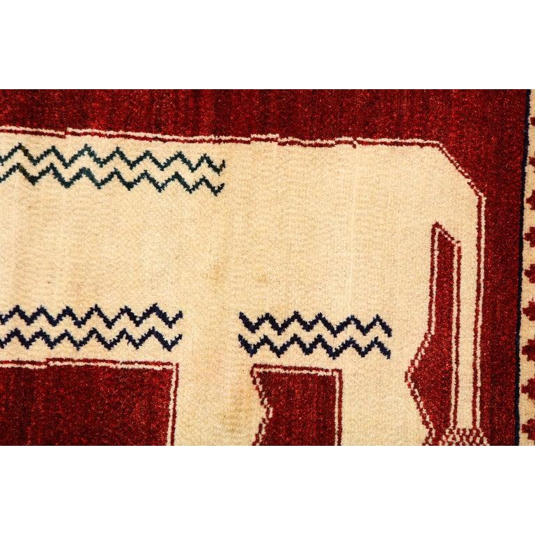 Persian Qashqai Kashkooli Lion Animal Carpet circa 1940 in Handspun Wool For Sale 1