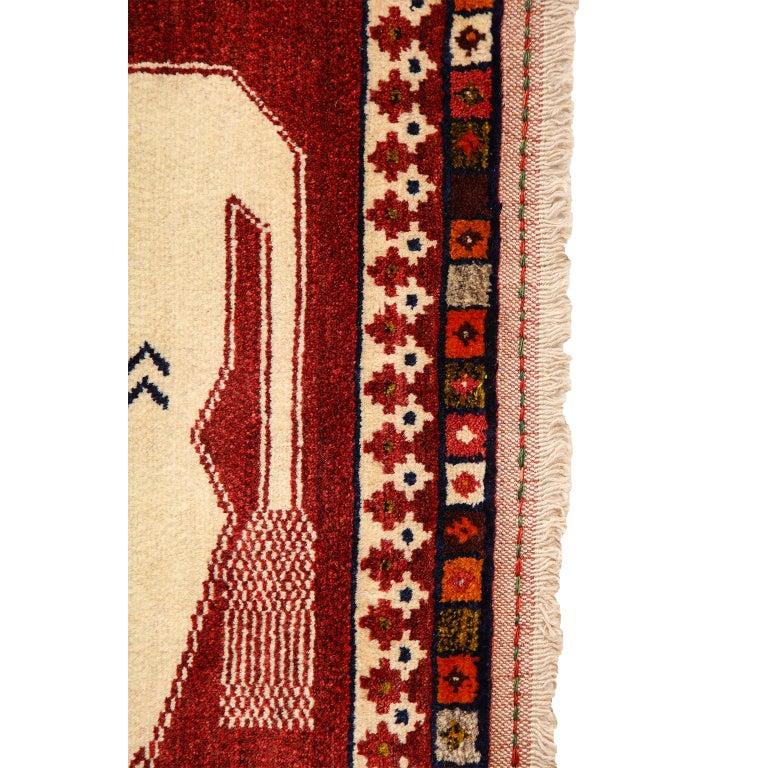 Persian Qashqai Kashkooli Lion Animal Carpet circa 1940 in Handspun Wool For Sale 2