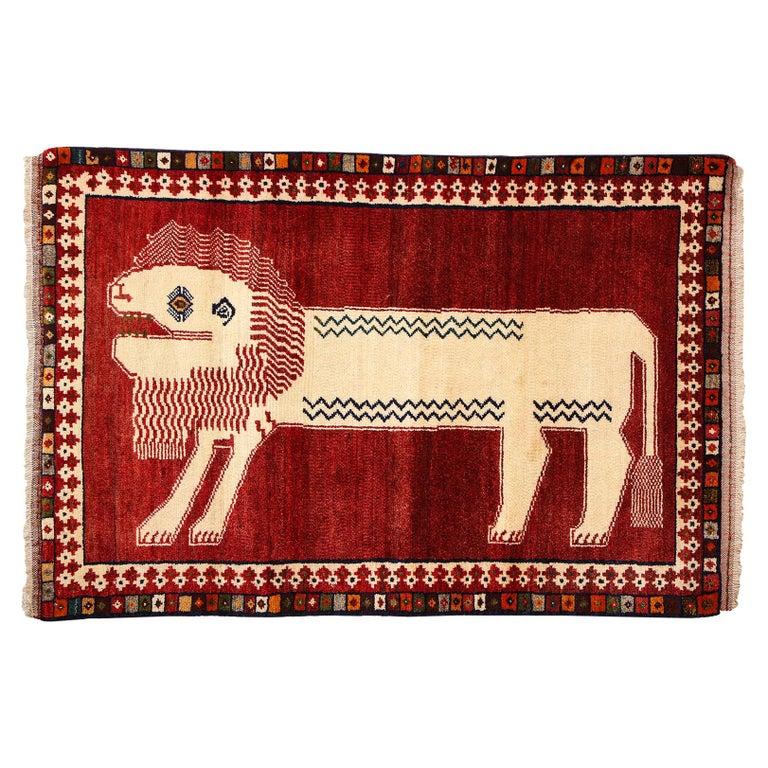 Persian Qashqai Kashkooli Lion Animal Carpet circa 1940 in Handspun Wool For Sale