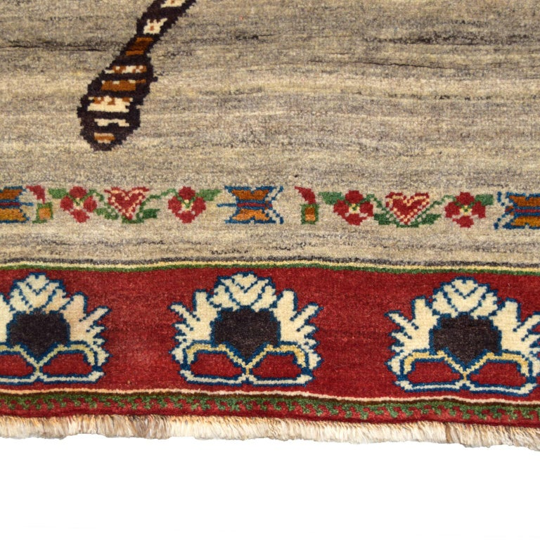 Tribal Persian Qashqai Leopard Carpet in Red, Cream, and Grey Wool For Sale