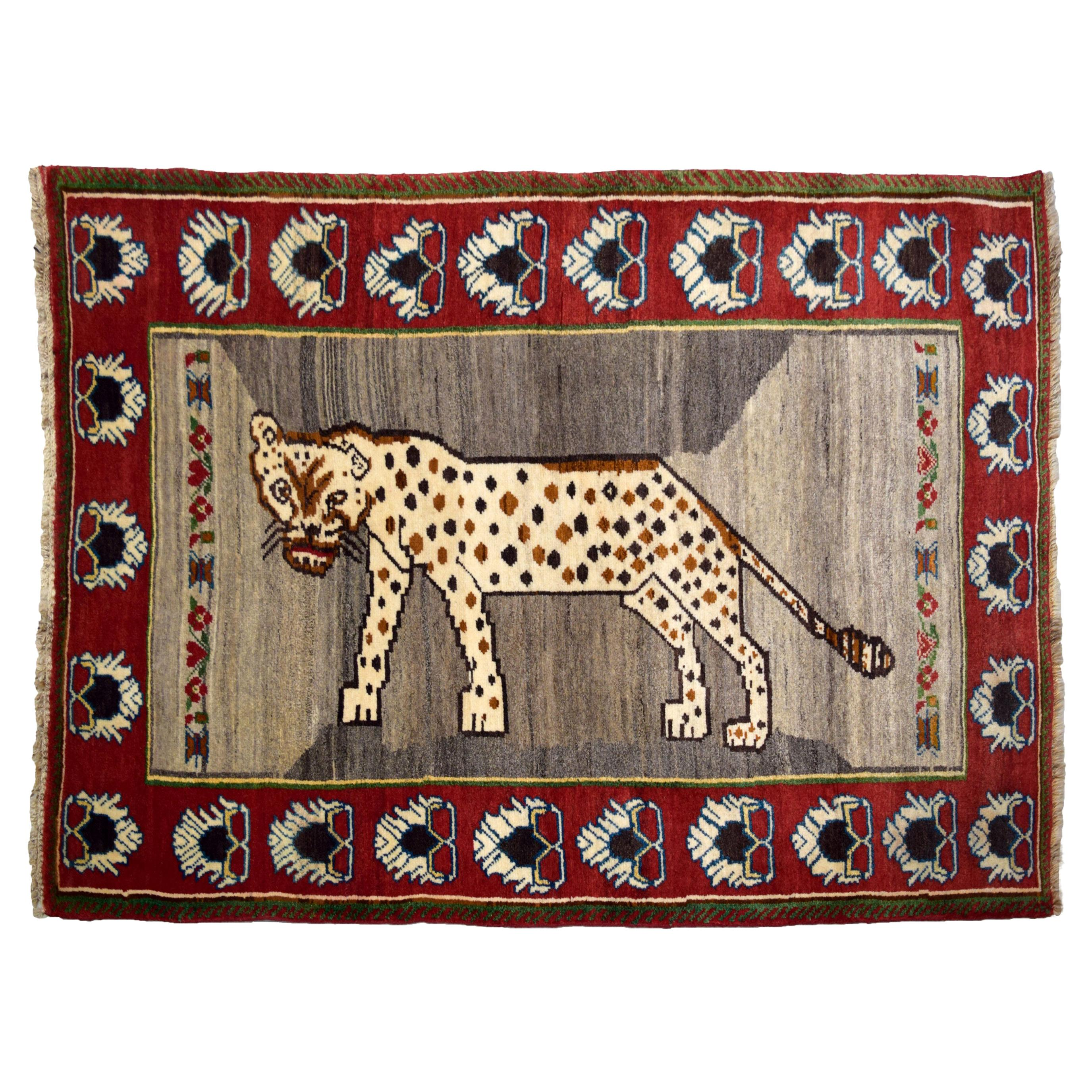 Persian Qashqai Leopard Carpet in Red, Cream, and Grey Wool