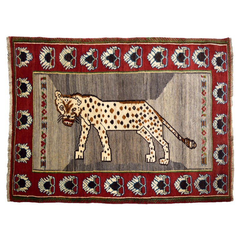 Persian Qashqai Leopard Carpet in Red, Cream, and Grey Wool For Sale