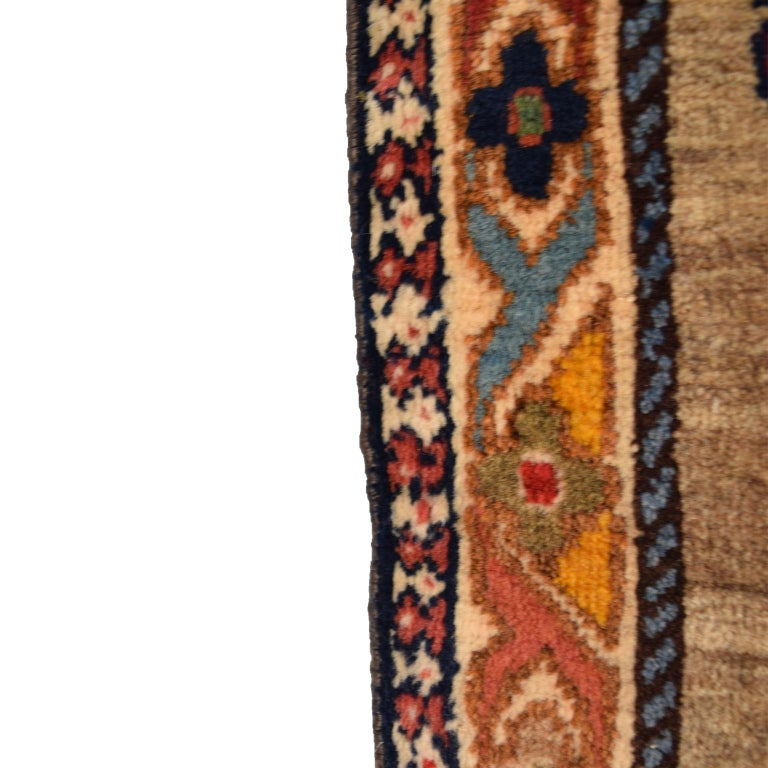 Vegetable Dyed Persian Qashqai Peacock Carpet in Pure Handspun Wool and Vegetable Dyes For Sale