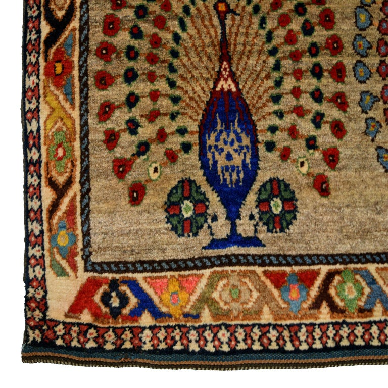 Mid-20th Century Persian Qashqai Peacock Carpet in Pure Handspun Wool and Vegetable Dyes For Sale