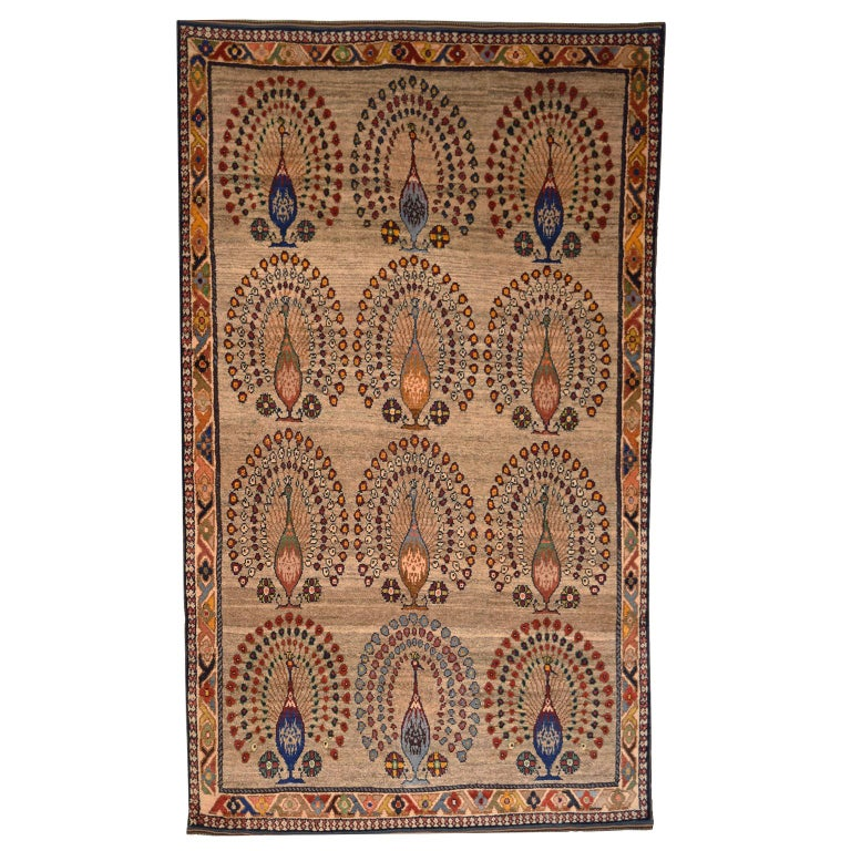Persian Qashqai Peacock Carpet in Pure Handspun Wool and Vegetable Dyes For Sale