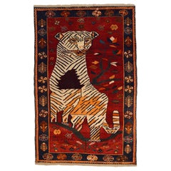 Persian Qashqai Tiger Carpet in Pure Handspun Wool and Vegetable Dyes circa 1940