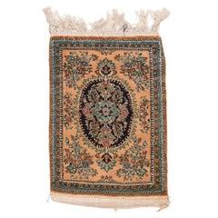 Fine Persin Silk Qum Mat Silk on Silk Door Mat Size, Hand Knotted