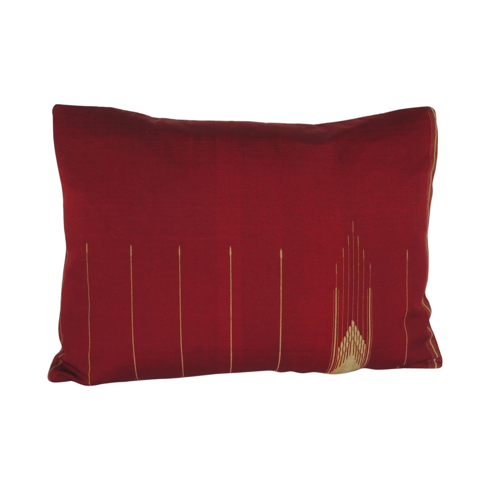 Antique Red and Gold Cotton Decorative Bolster Pillow