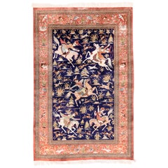 Extremely Fine Silk Persian Qum Area Rug (Signed)