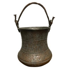 Persian Safavid Copper and Tin Etched Bucket