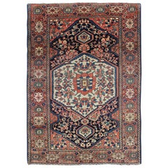 Persian Sarouk Faraghan Small Rug with Medallion Design Antique
