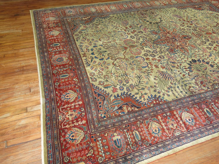 Early 20th century Persian Sarouk Fereghan rug.  Today, the best Ferahan Persian carpets have become a favorite of connoisseurs and established interior designers, not merely for their great decorative appeal, but because they have long exhibited