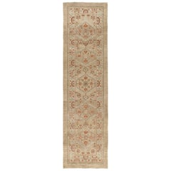 Persian Serab Hand Knotted Runner Rug in Camel and Red Colors