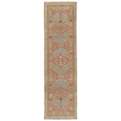 Persian Serab Hand Knotted Runner Rug in Camel, Pale Blue, and Red Colors