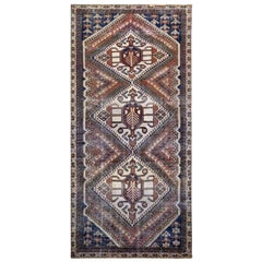 Persian Shiraz Natural Wool Old Distressed Handmade Gallery Size Runner Rug
