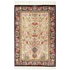 Persian Silk Small Scatter Size Qum Rug. Size: 2 ft 8 in x 3 ft 10 in