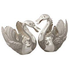 Persian Silver Swan Centerpieces / Champagne Bottle Holders