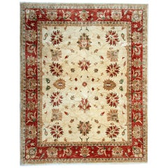 Cream Hand Made Rugs, Living Room Rugs Oriental Carpet Ziegler Floral Rug