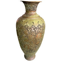 Persian Syrian Middle Eastern Islamic Moorish Tall Hammered Brass Vase