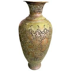 Persian Syrian Middle Eastern Islamic Moorish Tall Hammered Brass Vase