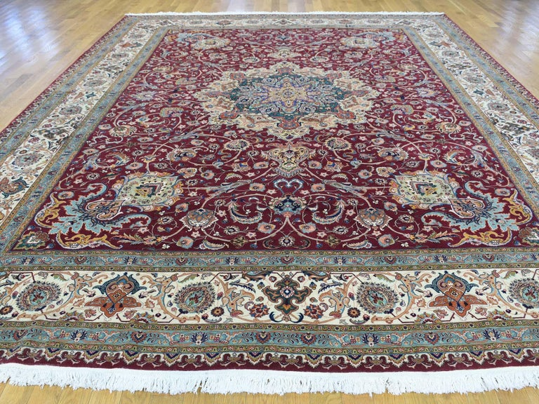 This fabulous hand knotted carpet has been created and designed for extra strength and durability. This rug has been handcrafted for weeks in the traditional method that is used to make rugs. This is truly a one of kind piece.  Exact rug size in