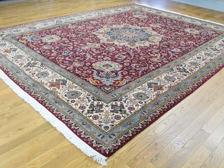 Medieval Persian Tabriz 400 Kpsi Wool and Silk Handmade Oriental Rug For Sale