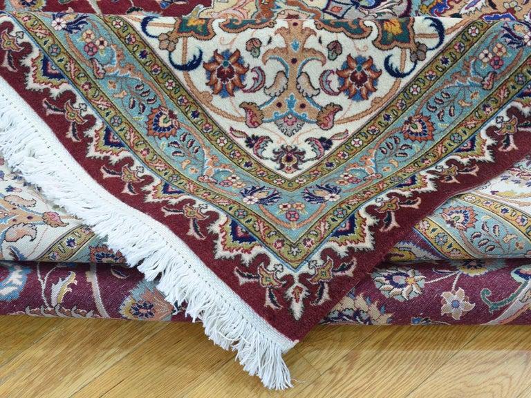 Persian Tabriz 400 Kpsi Wool and Silk Handmade Oriental Rug For Sale 1