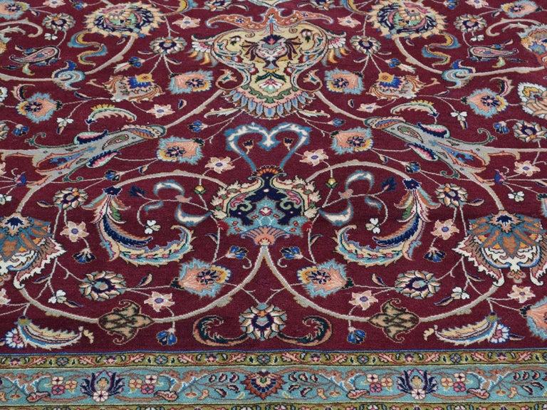 Persian Tabriz 400 Kpsi Wool and Silk Handmade Oriental Rug For Sale 2