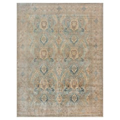 Persian Tabriz Botanic Light Blue, Cream and Rust Handwoven Wool Rug
