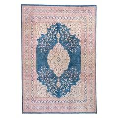 Persian Tabriz Carpet, Bright Blue Field, Center Medallion, Ivory Borders