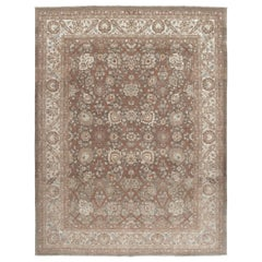 Persian Tabriz Hadji Jalili Handknotted Rug in Ivory, Brown and Rust Tones