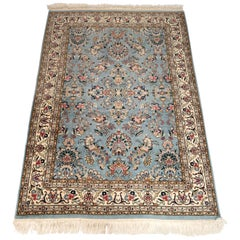 Persian Tabriz Hand Knotted Floral Blue and Ivory Rug, circa 1970