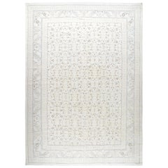 Persian Tabriz Hand Knotted Patina Rug in Beige and Cream Color