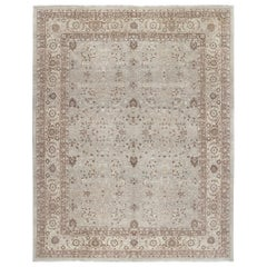 Persian Tabriz Hand Knotted Rug in Pale Blue, Beige and Rust