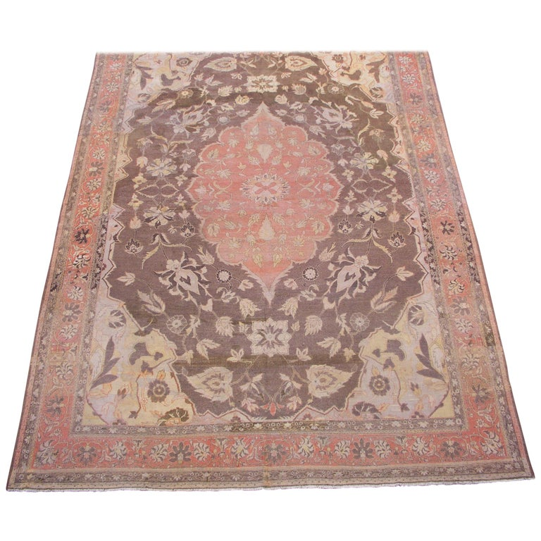 Antique Cotton Agra Rug With Abrash Circa 1900 For Sale: Persian Tabriz Rug, Circa 1900 For Sale At 1stdibs