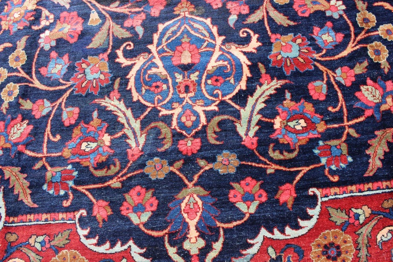 Classic Antique Persian Tabriz Rug with Medallion in Blue and Red For Sale 4